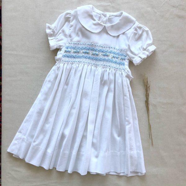 Vestido Smock Jaci Lino Blanco con Celeste
