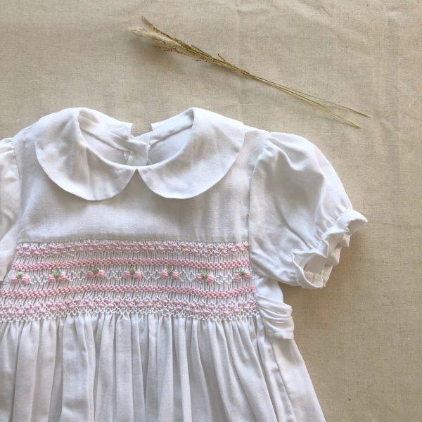 Vestido Smock Jaci Lino Blanco con Rosa