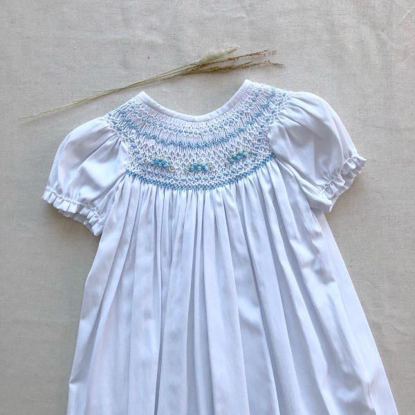 Vestido Canesú Lino Blanco Bordado Celeste
